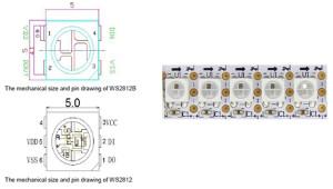 WS2812B (in alto a sinistra), WS2812 (in basso a destra) e WS2812B (a destra)